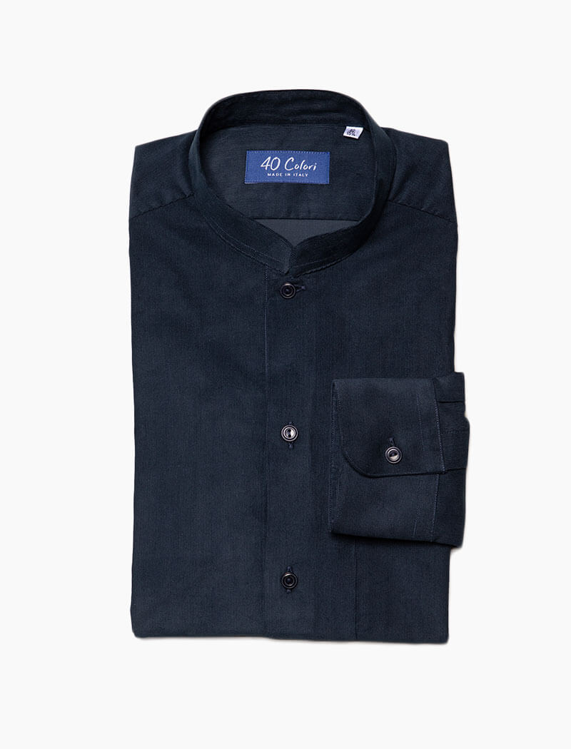 Navy Thin Corduroy Shirt | 40 Colori