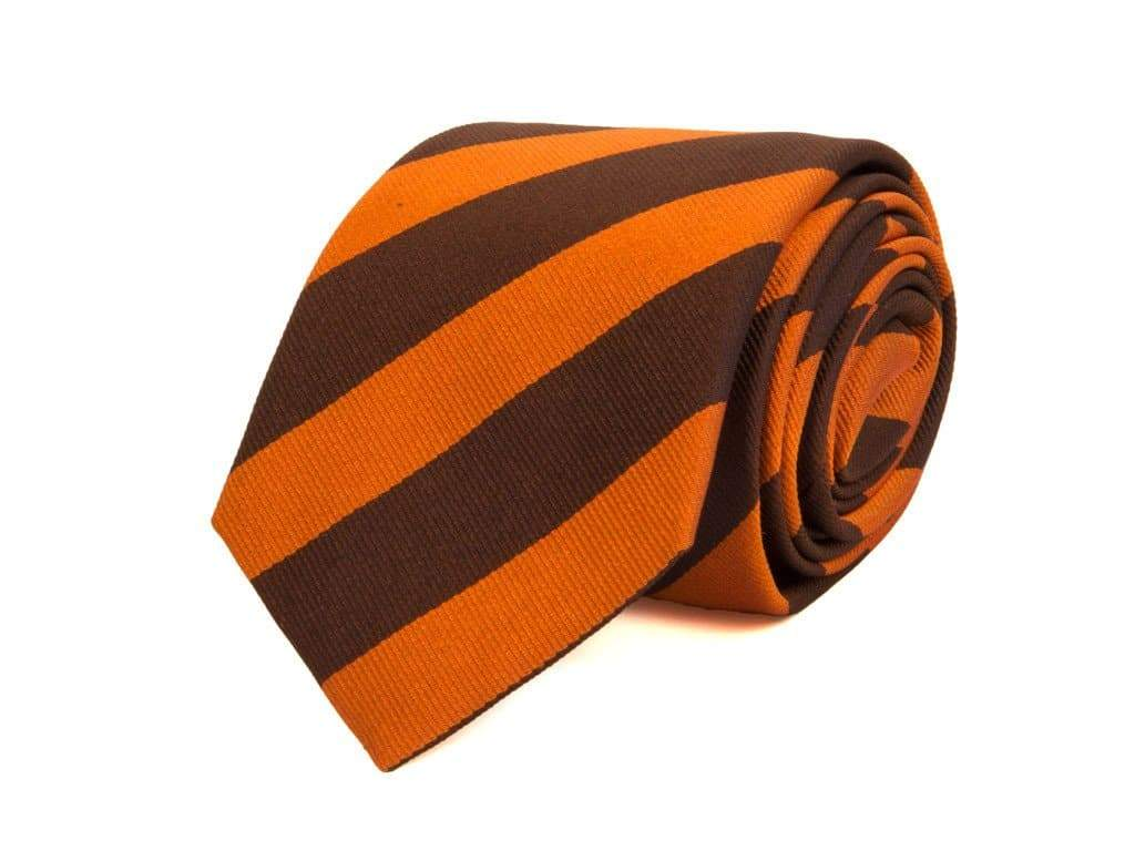 CLUB STRIPED WOVEN SILK BIG AND TALL TIE