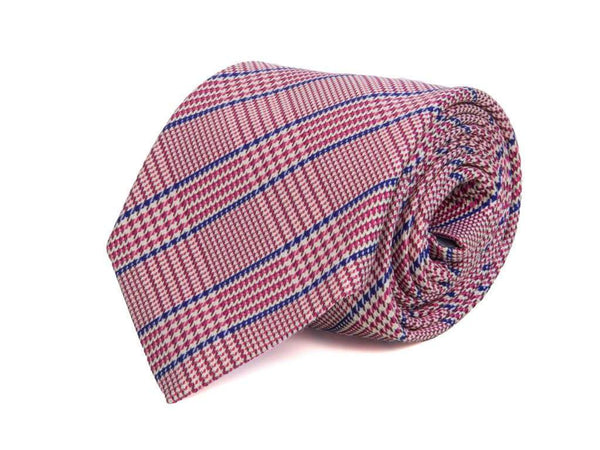 TWO-TONED GLEN PLAID WOVEN SILK TIE