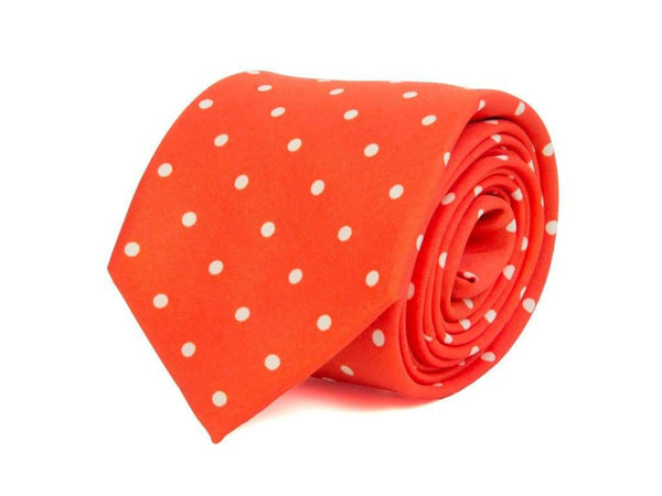LARGE DOTTED PRINTED SILK TIE