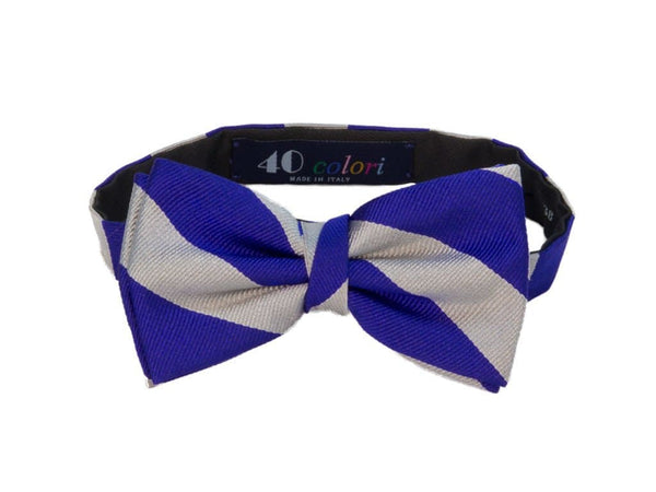 CLUB STRIPED SILK PRE-TIED BOW TIE
