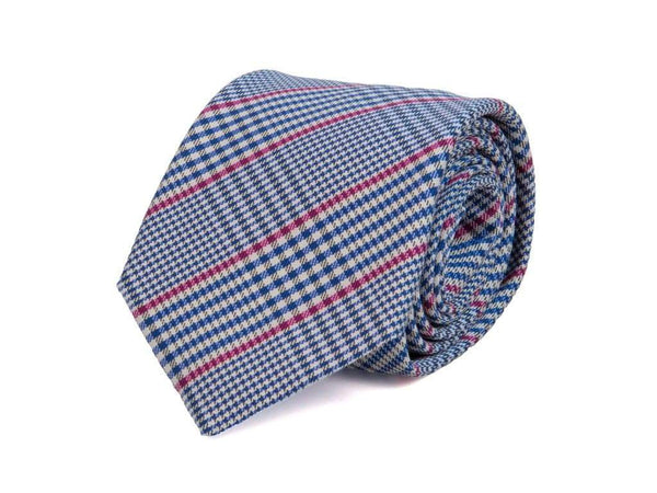 LARGE GLEN PLAID WOVEN SILK TIE
