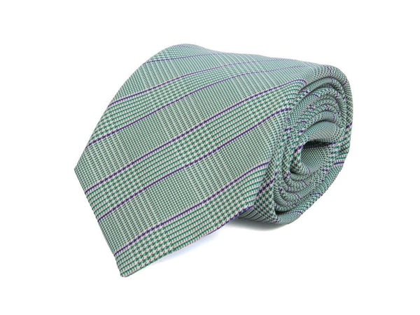 TWO-TONED SMALL GLEN PLAID WOVEN SILK TIE