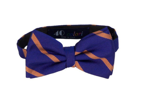 BAR STRIPED SILK PRE-TIED BOW TIE