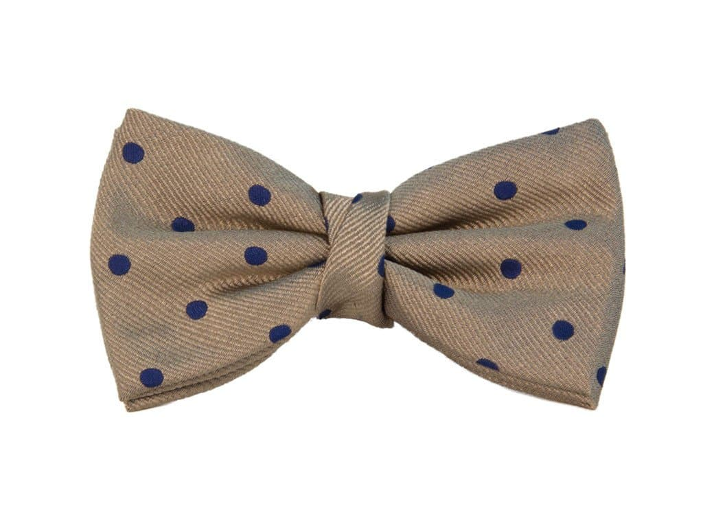 LARGE DOTTED SILK PRE-TIED BOW TIE
