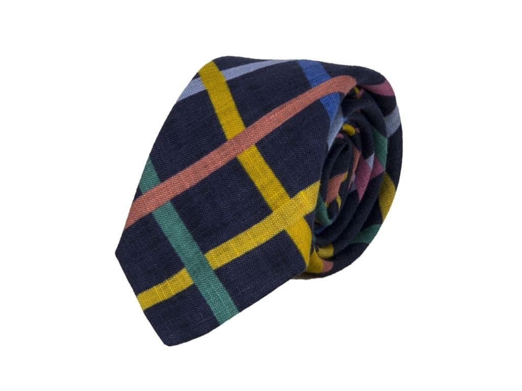 Criss-Cross Printed Linen Tie