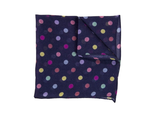 COLOURED POLKA DOT MODAL CASHMERE POCKET SQUARE