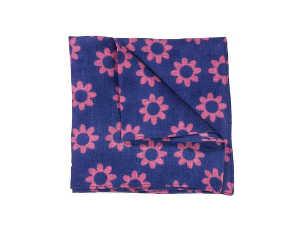 FLOWER PRINTED LINEN POCKET SQUARE