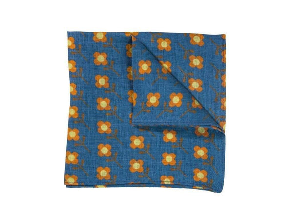Stem Printed Linen Pocket Square