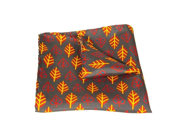 LEAVES PRINTED SILK POCKET SQUARE