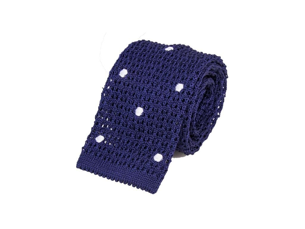 Embroidered Polka Dot Silk Jacquard Knitted Tie