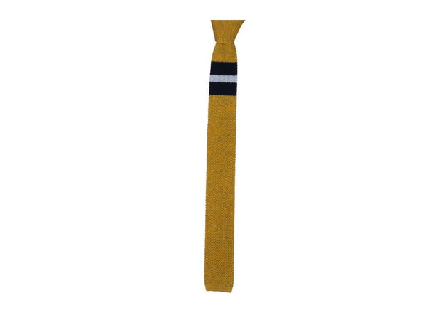 DOUBLE UPPER STRIPED WOOL KNITTED TIE
