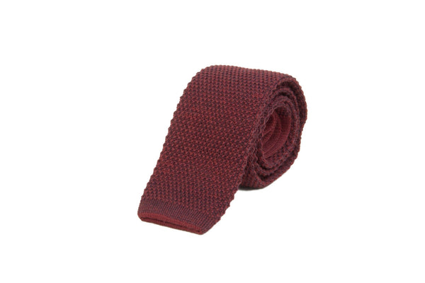 DOUBLE-THREADED WOOL AND COTTON KNITTED TIE