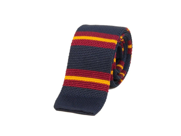 REGIMENTAL STRIPED SILK KNITTED TIE
