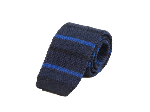 DARK BLUE GRADIENT BAR STRIPED COTTON KNITTED TIE