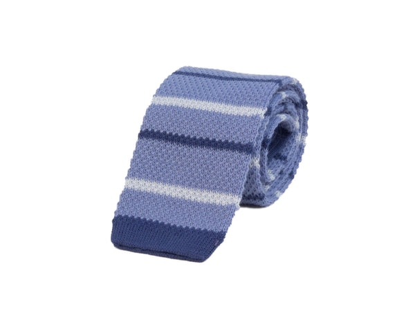 GRADIENT BAR STRIPED COTTON KNITTED TIE