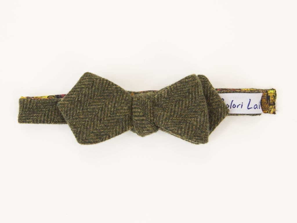 Herringbone Wool Butterfly Bow Tie