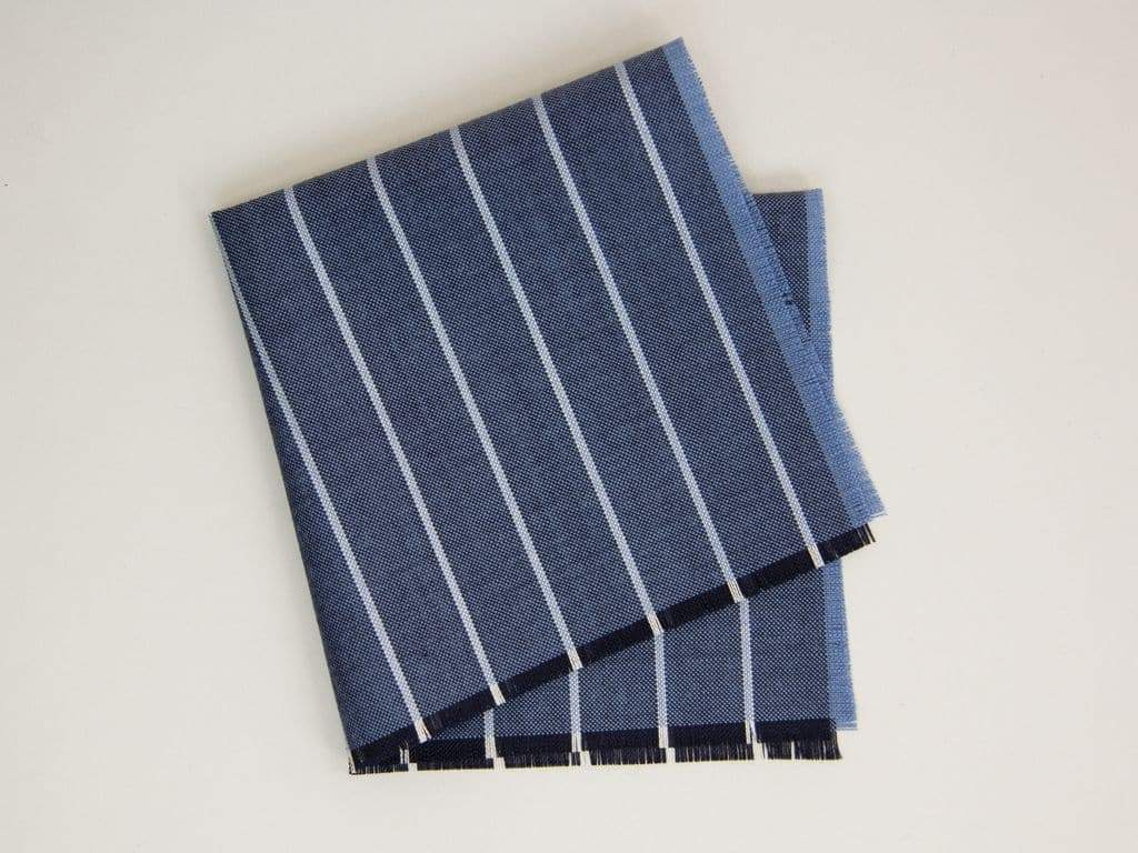 Fringed Striped Wool Pocket Square