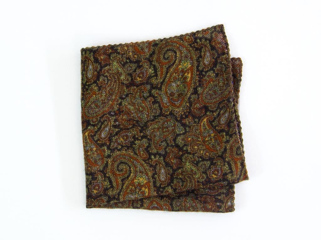 ANCIENT PAISLEY WOOL AND SILK POCKET SQUARE