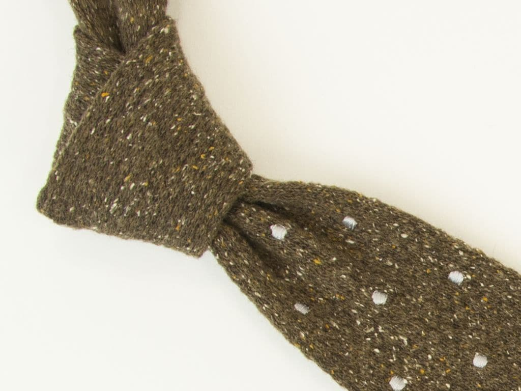 Embroidered Polka Dot Wool Knitted Tie