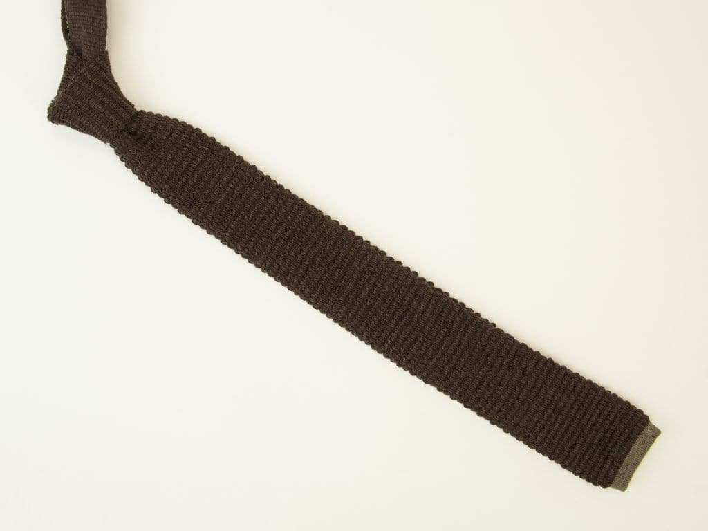 SOLID WOOL & CONTRAST TIPPING KNITTED TIE