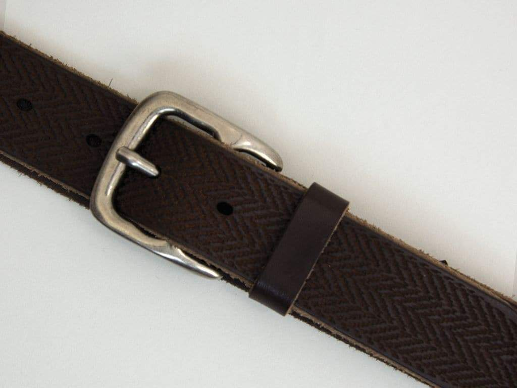 Lasered Herringbone Leather Belt