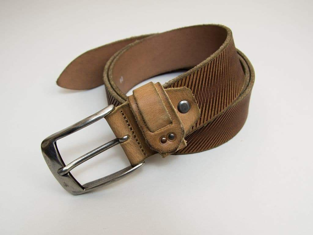 Lasered Zigzag Leather Belt
