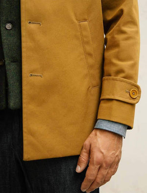 Mustard Waxed Cotton Overcoat | 40 Colori