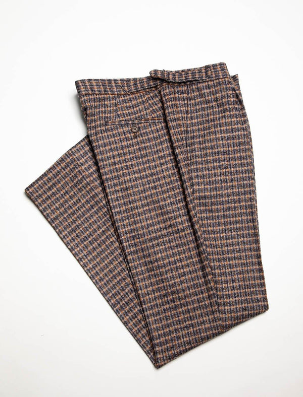 Mustard & Blue Check Wool Slim Trousers