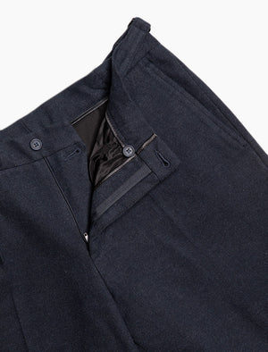 Navy Brushed Cotton Slim Trousers