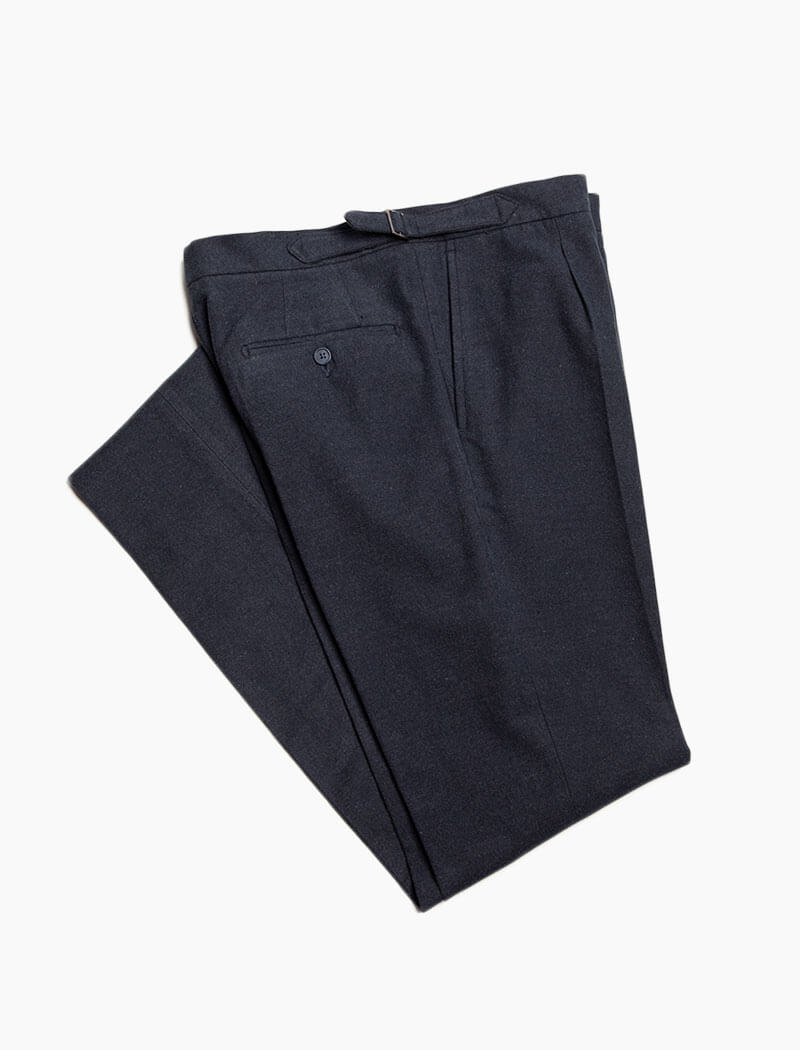 Navy Brushed Cotton Slim Trousers | 40 Colori