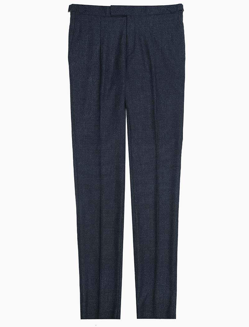 Blue Dotted Wool Slim Trousers | 40 Colori