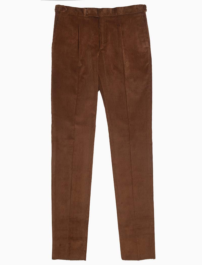 Tan Brown Corduroy Slim Trousers | 40 Colori