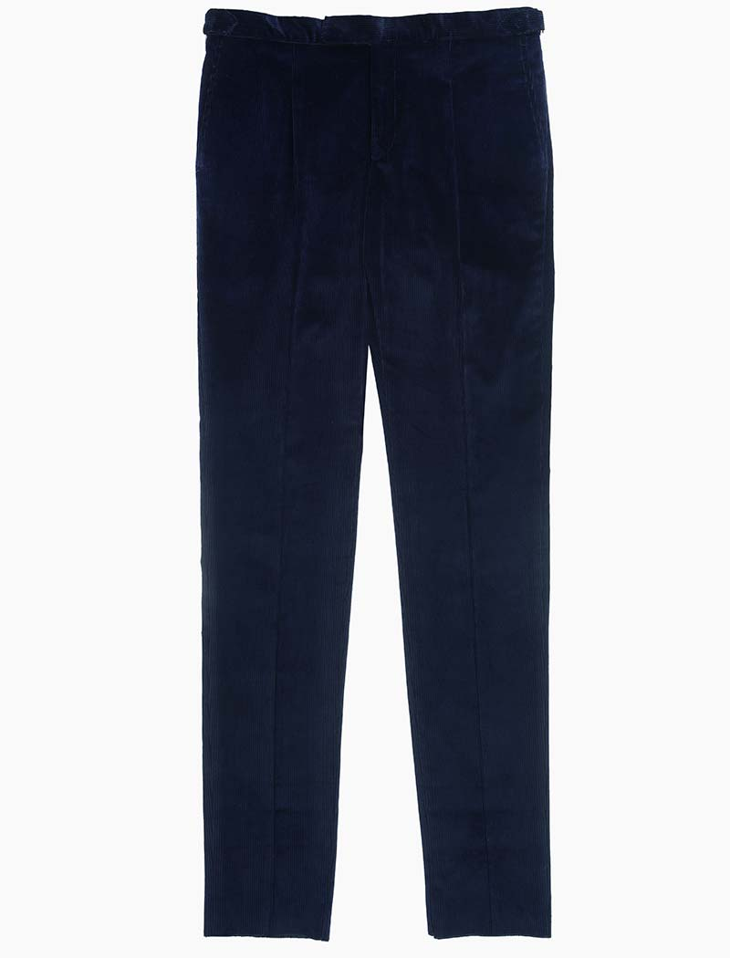 Navy Corduroy Slim Trousers | 40 Colori