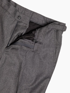 Grey Flannel Wool & Cashmere Slim Trousers