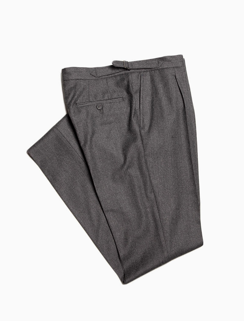Grey Flannel Wool & Cashmere Slim Trousers | 40 Colori