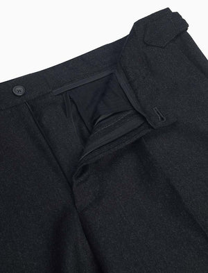 Charcoal Flannel Wool & Cashmere Slim Trousers | 40 Colori