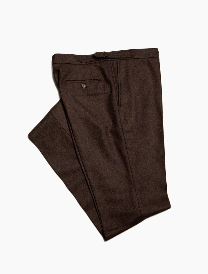 Brown Melange Lambswool Slim Trousers | 40 Colori