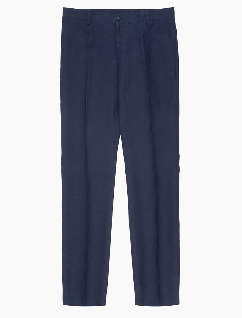 Navy Linen Comfort Trousers | 40 Colori