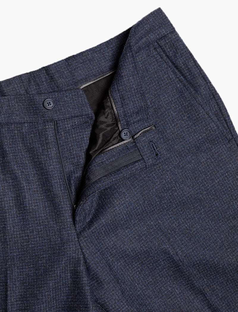 Blue Small Grid Check Wool Comfort Trousers