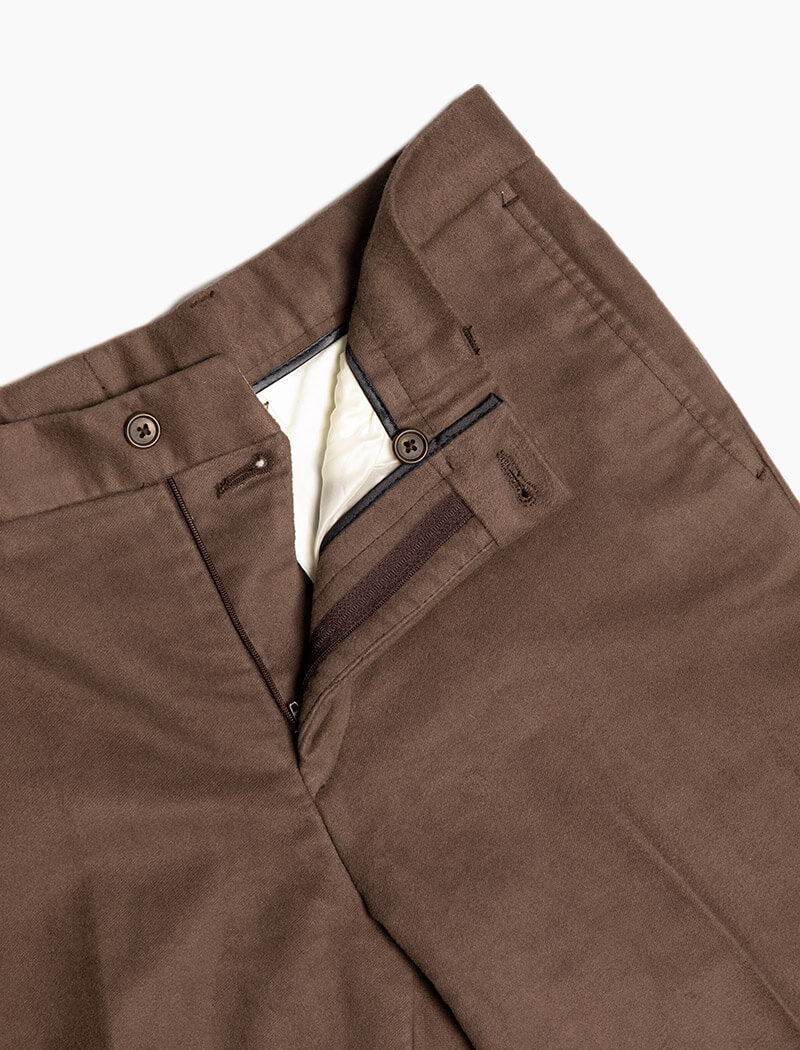 Brown Moleskin Comfort Trousers