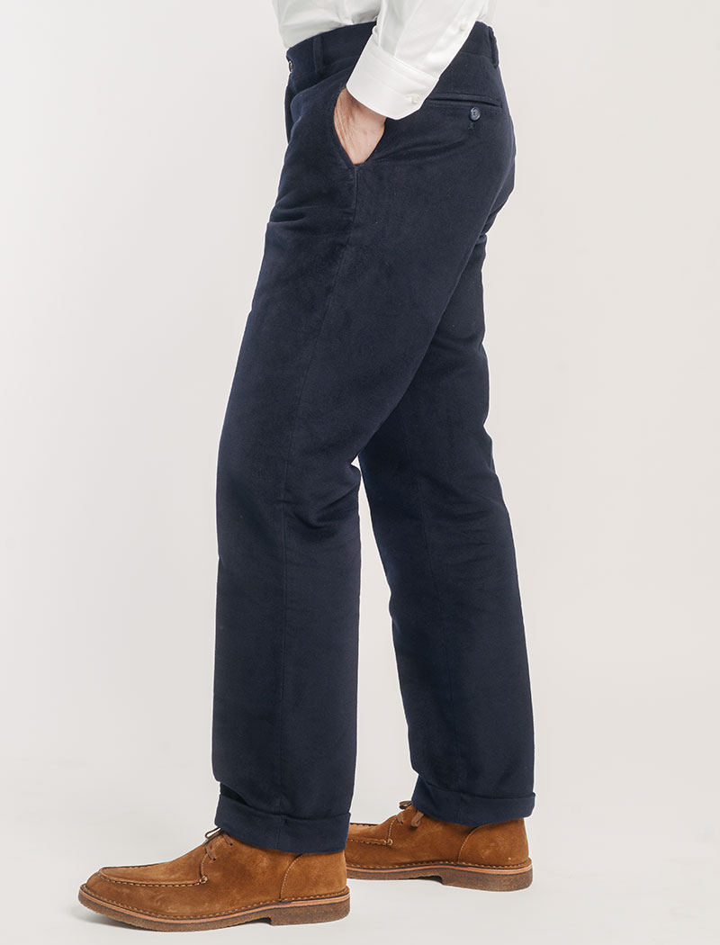 Navy Moleskin Comfort Trousers | 40 Colori