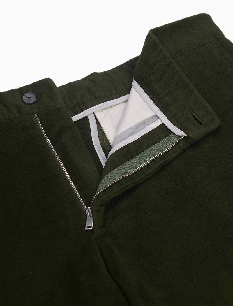 Dark Green Moleskin Comfort Trousers | 40 Colori
