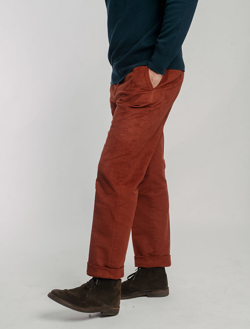 Rust Moleskin Comfort Trousers | 40 Colori