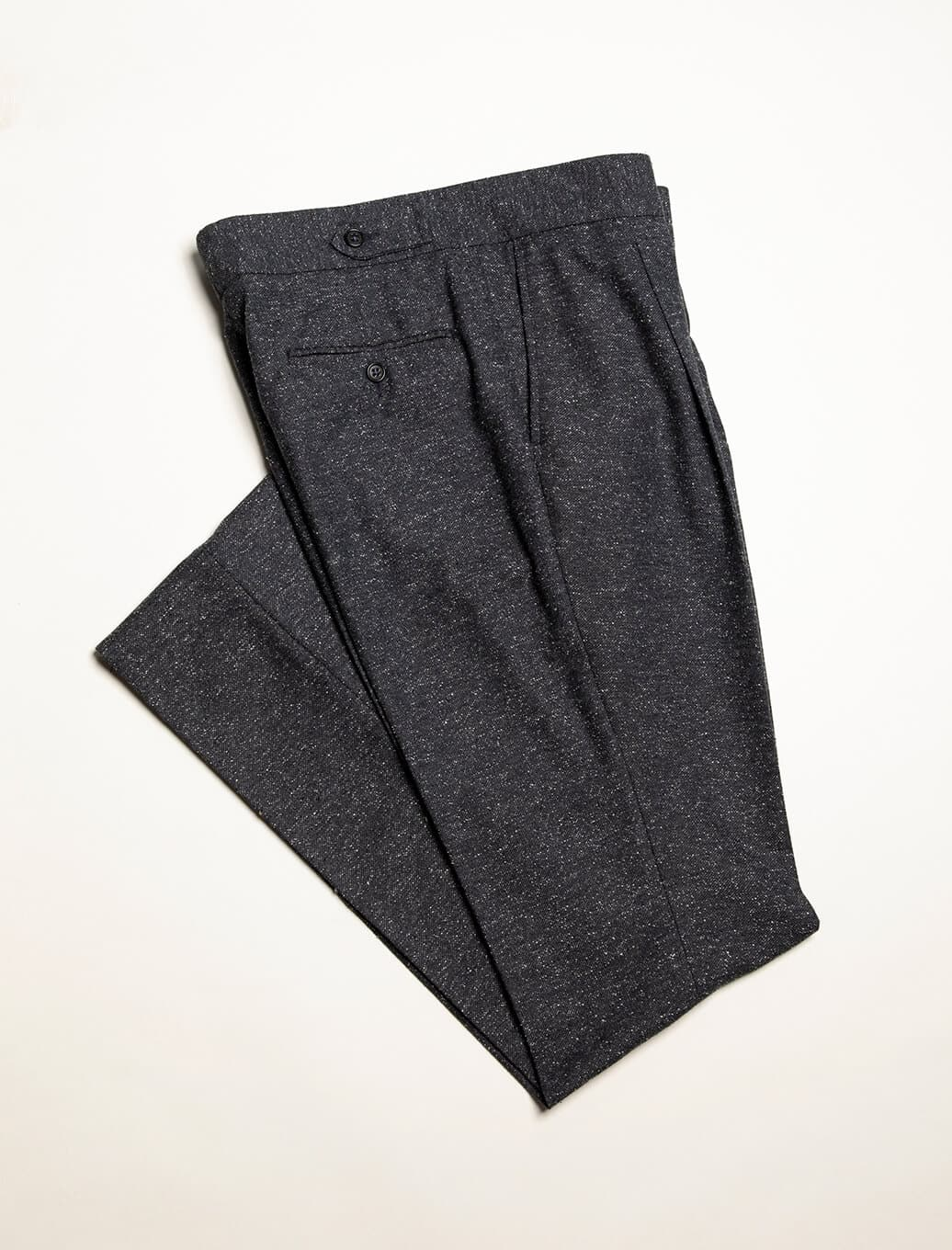 Charcoal Speckled Wool Silk High Waisted Trousers | 40 Colori