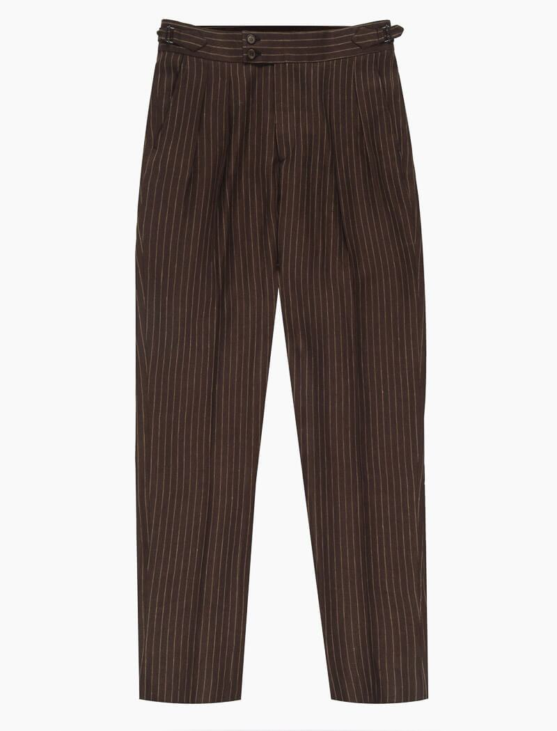 Brown Striped Cotton & Linen Double Pleated Trousers | 40 Colori