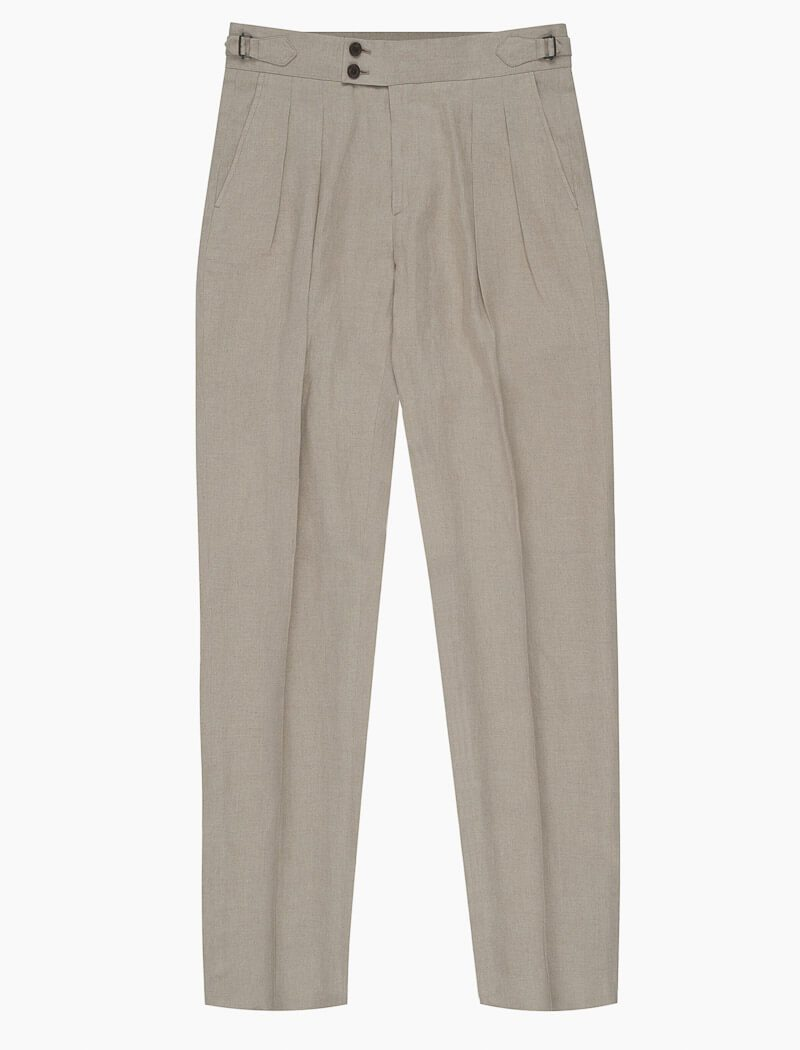 Beige Linen Double Pleated Trousers | 40 Colori