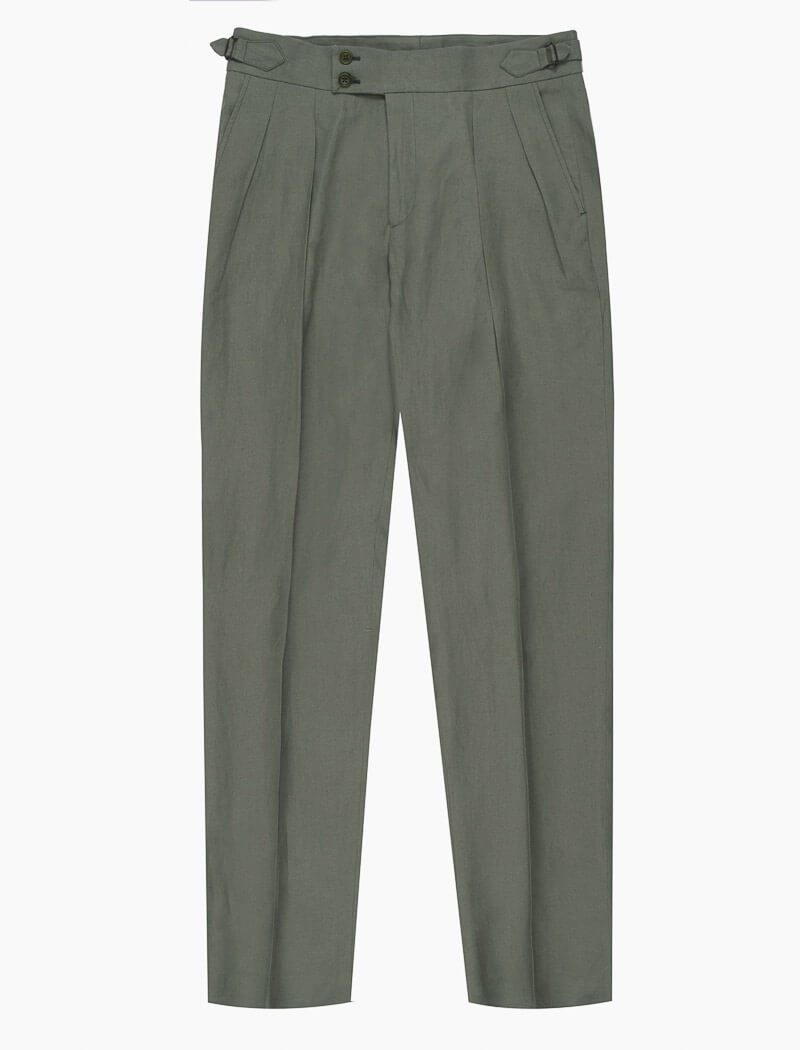 Sage Green Linen Double Pleated Trousers | 40 Colori