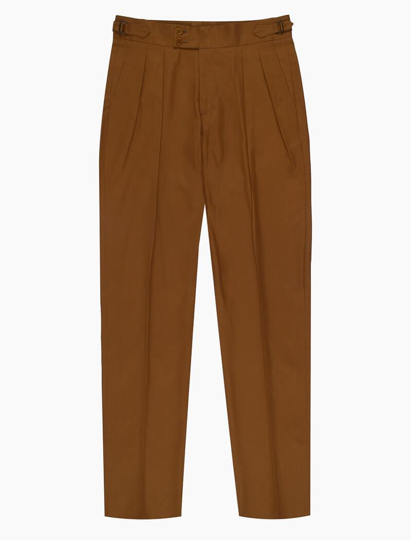 Mustard Cotton Double Pleated Trousers | 40 Colori