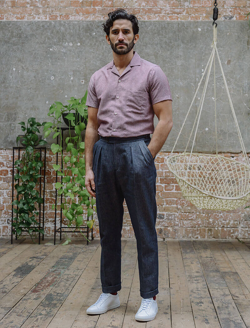 Dark Blue Cotton & Linen Double Pleated Trousers | 40 Colori